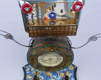 "Robot Sculpture ""Party-bot"" Found Object Art - Junk Art - Folk Art by Kurth"