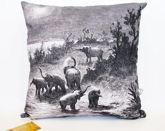 Elephants cushion cover