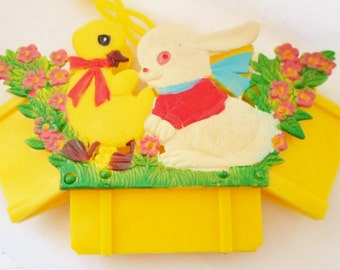 Vintage Collapsible Hard Plastic Easter Basket, Made In Hong Kong, Bunny Rabbit, Duckling, Flowers, Bright Yellow, White, Red, Green, Pink
