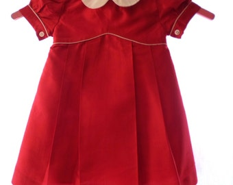 Beautiful Fleurisse 12 M 100% Silk Little Girls Dress, Burgundy Red With Ivory, Designed In France, Special Occassion, Made In Philippines