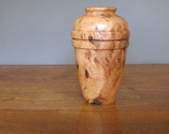 Apple wood vase, vessel, two bands are directly below shoulder, wood turning, reddish brown and light beige, hollow form