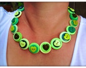 Green, heart, button necklace - statement necklace