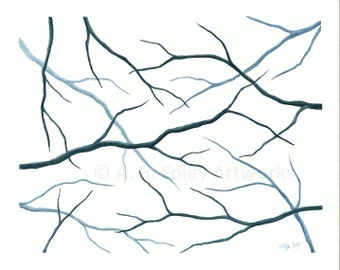 Tree Branch Art: Original Watercolor Painting. Teal Nature Decor, Blue Silhouette Abstract Tree Art 8 X 10