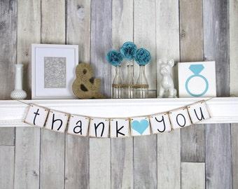 Wedding Thank you Photo, Thank you Banner, Blue Wedding Decor