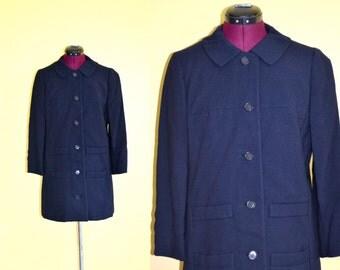 1960s Vintage Paul Blumenstein Navy Blue Coat size Medium bust 38