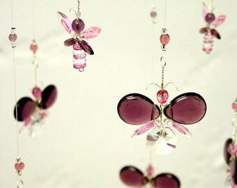 Hanging Mobile Nursery Idea Pink Baby Shower Gift Purple Butterfly Mobile Fairy Swarovski Crystal Suncatcher Baby Girl Mobile Window Decor