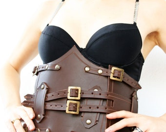 MADE TO ORDER- leather corset underbust brown steampunk victorian ghotic fetish armor larp renaissance bustle