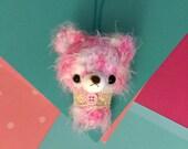 Pinky Bear Amigurumi Charm