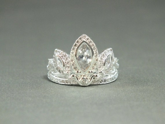 silver tiara princess ring rapunzel tangled crown crystals
