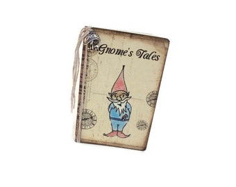 Mini Gnome Journal, Fantasy Notebook, Folk Diary, Gnome's Tales, Vintage Style, Faerie, Yule, Christmas, Children's Journal