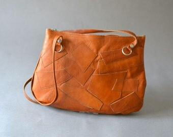 Vintage patchwork bag leather clutch party equestrian satchel fashion accessories 70s