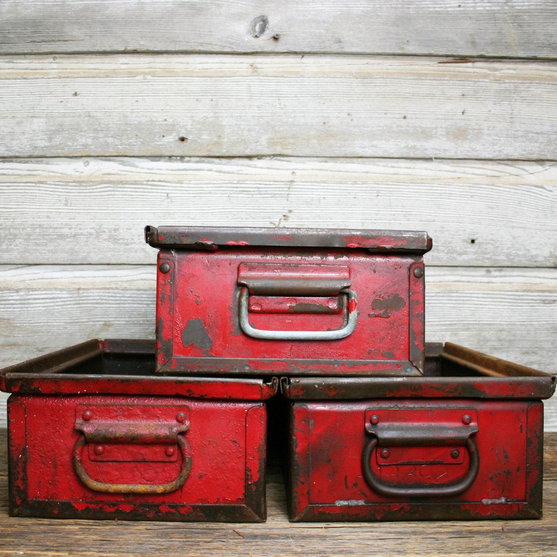 Vintage Industrial Red Bins With Handles Red Metal Bins