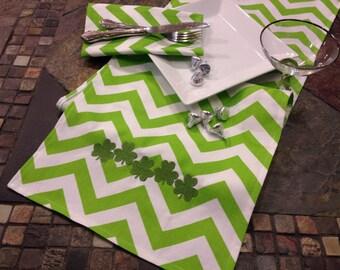 "St Patricks Day Shamrock embroidered green chevron table runner 12"" x 57"""