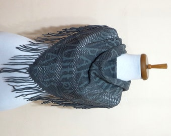 2015 trends scarf, Grey, Blue, machine-knitted shawl, women scarves..Printed in Paris scarf, neckwarmer, scarflette...
