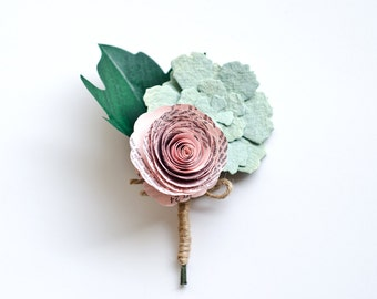 Succulent, Rose and Maple Leaf Corsage made from Books - IN YOUR COLORS - Paper Wedding Flowers for Mothers, Grandmothers, Wedding Party