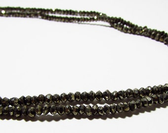 Natural Pyrite Faceted Rondelle Beads 2.5mm