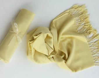 LIGHT YELLOW Pashmina Scarf. Yellow Pashmina Shawl. Scarf. Bridal Shawl. Bridmaid Gift. Wedding favors.