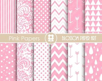 Digital Paper Baby Girl Pink Digital Paper Pack, Pink Scrapbooking Paper, Scrapbook Baby Girls - INSTANT DOWNLOAD - 1662