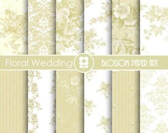 Wedding Digital Paper, Wedding Digital Paper Pack, Vintage Roses, Wedding, Scrapbooking, VIntage Roses - INSTANT DOWNLOAD  - 1697