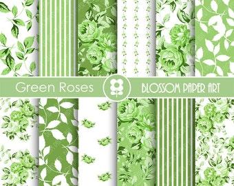 Green Digital Paper Green Digital Paper Pack, Green Roses, Floral Scrapbooking, Roses, Green Floral Papers - INSTANT DOWNLOAD  - 1796