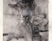 Contemporary art - contemporary portrait - creepy art - horror art - The Patient Spider Grandma Waits - original drawing - Scandinavian