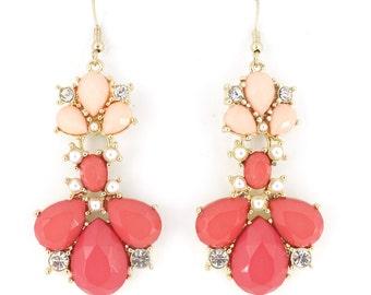 Elegant Cute Gold Tone Pink Stone Dangle Earrings,P3