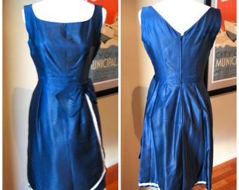 Vintage 1950s Blue Satin Dress with With Bow - M