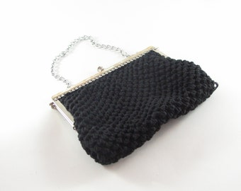 Vintage 1950s Black Crochet Ribbon Handbag