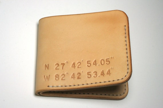 Handmade Personalized Leather Wallet. Wedding Coordinates.