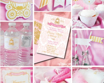 Instant Download, Her Royal Highness, Princess Pink, Girl Birthday Printable Party Package, You Edit Yourself in Adobe Reader