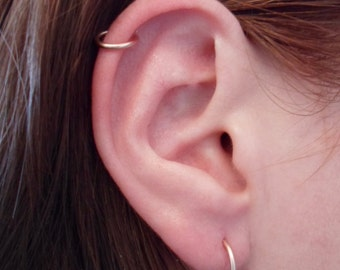 Pink Rose Gold Hoop Earring 16 GAUGE Cartilage Tragus Helix Eyebrow Nose Ring Catchless Seamless Little Sleeper Hypoallergenic.