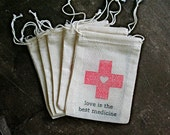 Hangover Kit favor bags, muslin, 2x4. Set of 25. DIY first aid for wedding guests. Love is the Best Medicine with red cross heart.
