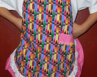 Little Girl's Pink Ruffled Crayon Apron-Size 4 to  6