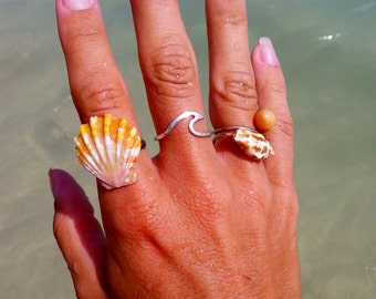 Wave Ring Solid Sterling Silver 14K Gold fill, hammered ring, nautical ring, nalu
