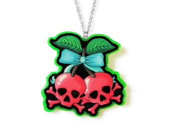 Poisonous Cherries Resin Necklace - Rockabilly Psychobilly - Pin Up Alternative Fashion Jewelry