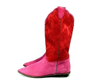 Red Calf Leather Cowboy Boots 7 - Western Riding Boots 7 - Red Lace Fuchsia Calf Leather Biker Boots 7, Femme Riding Boots 7