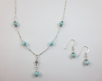 5-7 mm Larimar Bead Y Necklace & Earrings Set on Sterling Silver or 14k Gold Fill - Bead Jewelry - Beaded Jewelry