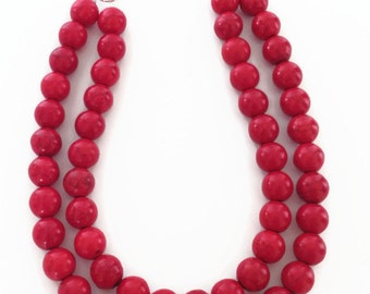 Red Turquoise Necklace, Long Red Necklace, Long Turquoise Necklace, Red Stone Necklace, Red Multistrand Necklace, Red Necklace