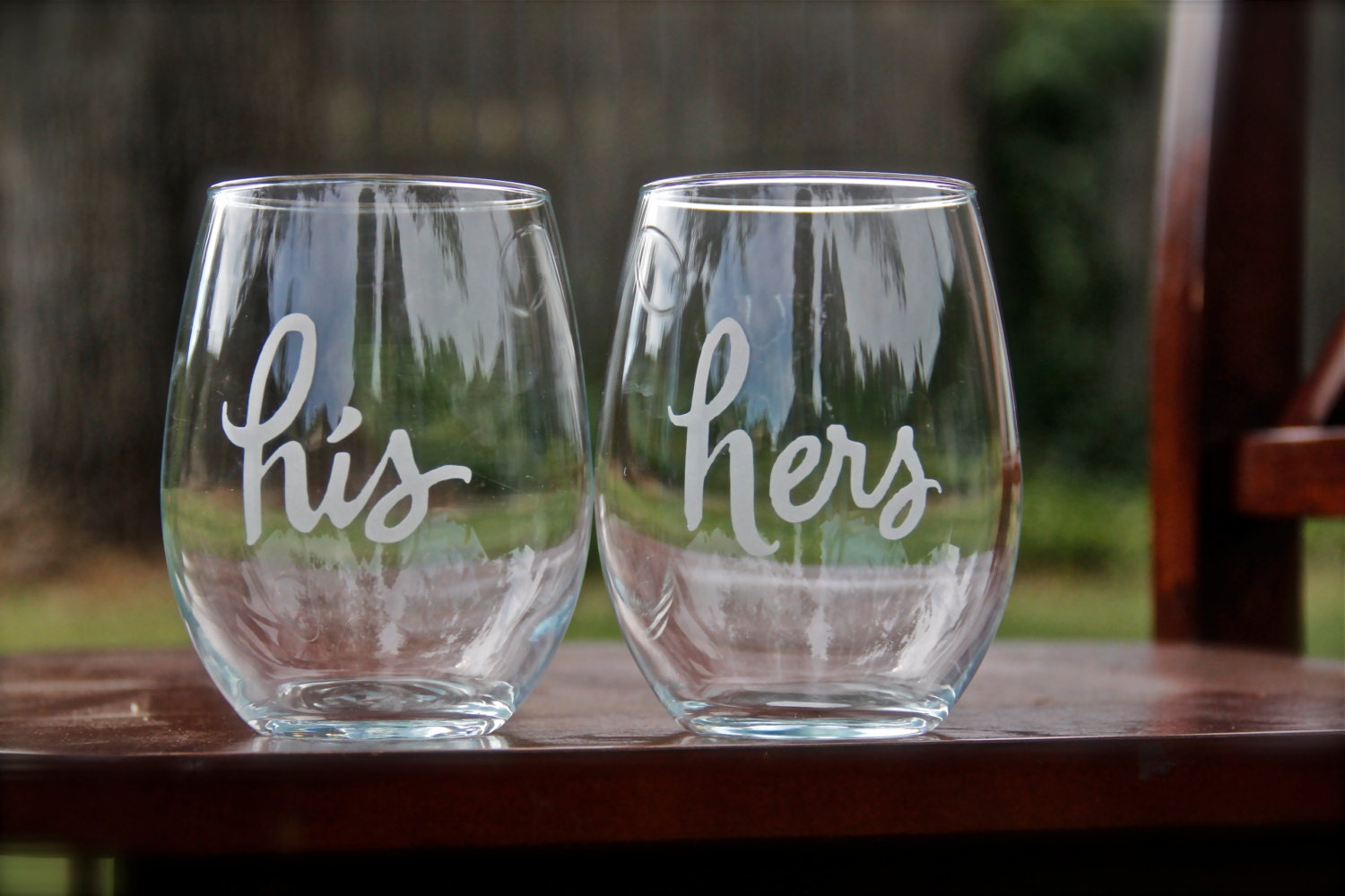 His and hers stemless wine glasses etched by etchedexpressions - Stemless wine goblets ...
