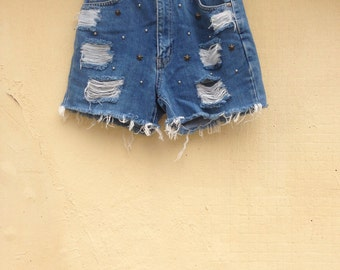 BIG SALE- Something New Vintage reworked denim shorts