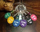 Drink Me - Set of Six Wine Glass Charms