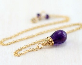 Gold Amethyst Necklace, 14k Gold Filled Purple Amethyst Pendant Wire Wrapped February Birthstone Gemstone Necklace