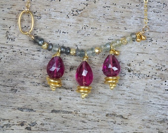 PINK TOURMALINE JEWELRY / aqua marine gold necklace