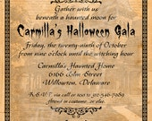 Printable Halloween Party Invitation - 5x7 - Haunted House Gate - Gothic Creepy Black Orange Old Vintage