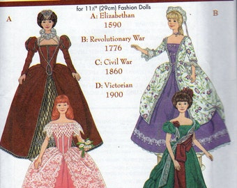 Simplicity Doll Clothes Patterns - Simplicity Museum Collection - For 11.5 Inch Fashion Dolls - Andrea Schewe Design           - 9521