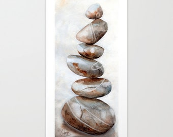 Stones cairn, Original watercolor painting - Pebbles stack in the seashore, in brown, beige, grey, black - Neutral home decor, Zen wall art