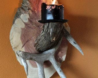 Cedar Log and Deer Antler Candle Display Holder