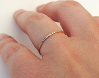 Delicate Gold Stacking Ring, Textured Ring, Yellow, White or Rose Gold, or Gold Filled- Knuckle or Pinky Ring- Custom Handmade to Order