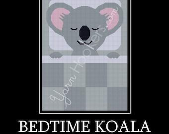 Bedtime Koala - Afghan Crochet Graph Pattern Chart - Instant Download