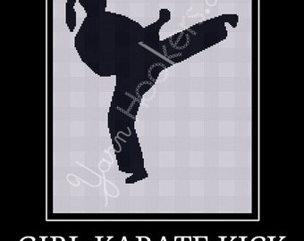 Girl Karate Kick - Afghan Crochet Graph Pattern Chart - Instant Download
